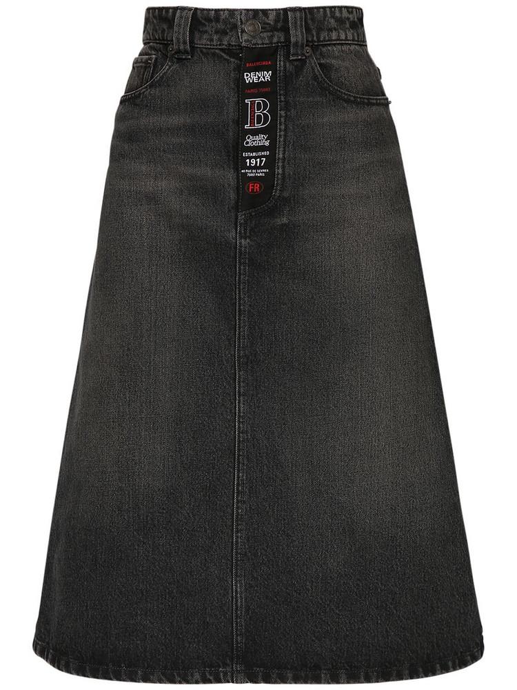 BALENCIAGA Organic Cotton Denim Midi Skirt in black