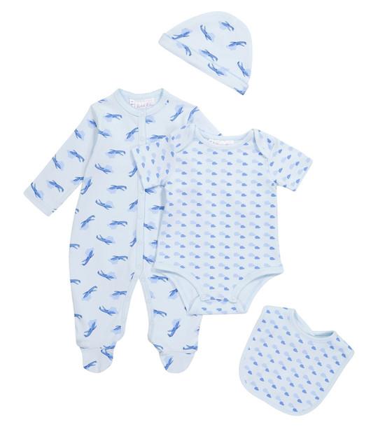 Rachel Riley Baby printed cotton onesie, playsuit, bib and beanie set in blue