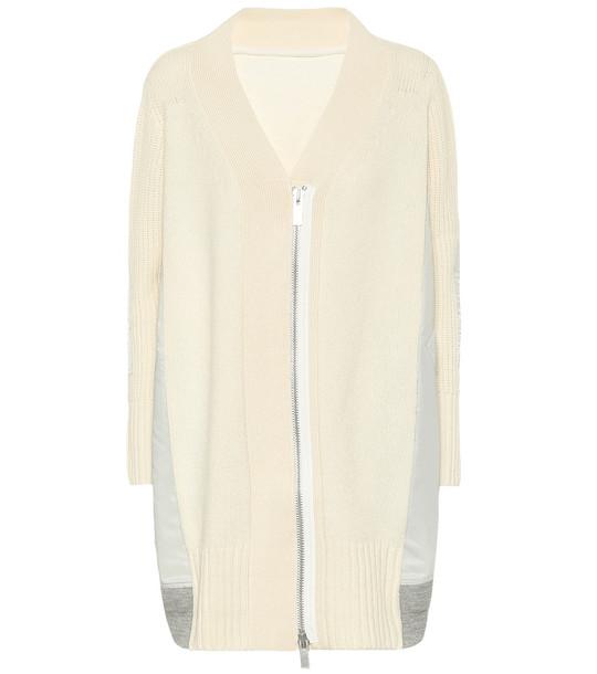 Sacai Wool zipped cardigan in white