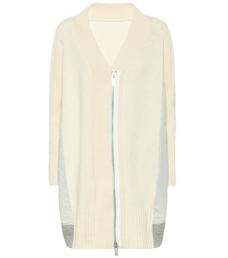Sacai Wool zipped cardigan in white