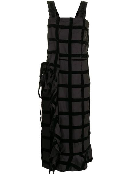 Comme Des Garçons Pre-Owned flocked grid-check midi dress in black