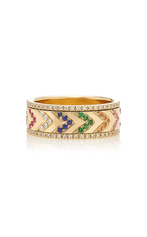 EF Collection 14k Multi Diamond Rainbow Chevron Spinning Ring in gold
