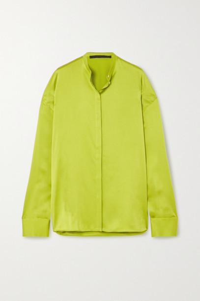 Haider Ackermann - Oversized Silk-satin Shirt - Bright green