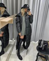 coat,long black coat,doudoune,black coat