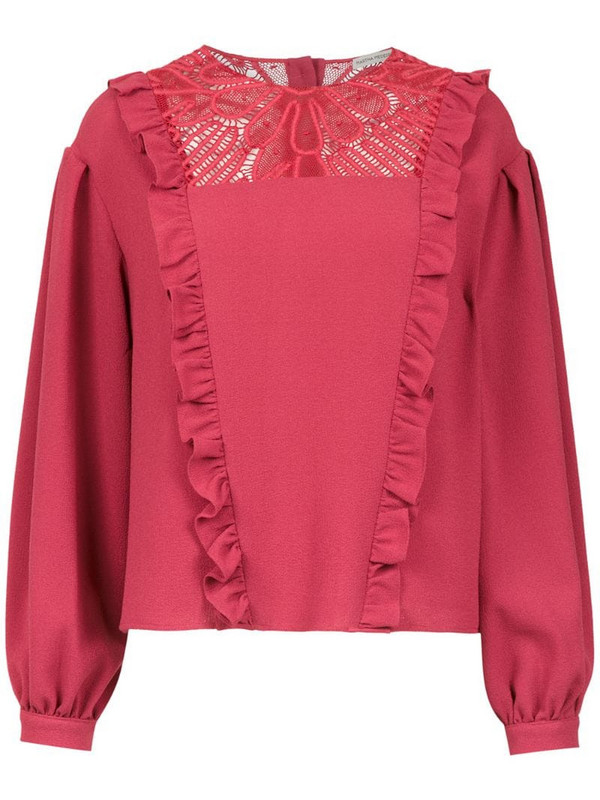 Martha Medeiros long sleeved crepe top in red