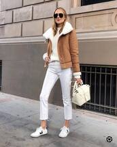 jacket,camel,wool,white sneakers,trainers,white jeans,cropped jeans,white bag,white sweater