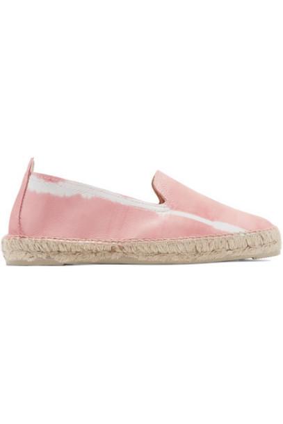 Manebi - Tie-dyed Leather Espadrilles - Baby pink