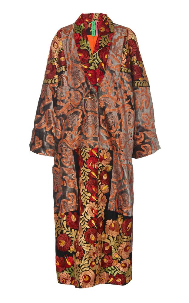 Rianna + Nina Rianna + Nina Exclusive One Of A Kind Silk Velvet Wrap Coat in multi