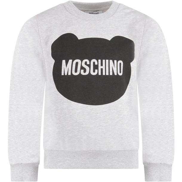 Moschino Grey Kids Sweatshirt With Black Teddy Bear