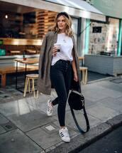 coat,plaid,pimkie,white sneakers,adidas,black bag,black skinny jeans,white t-shirt