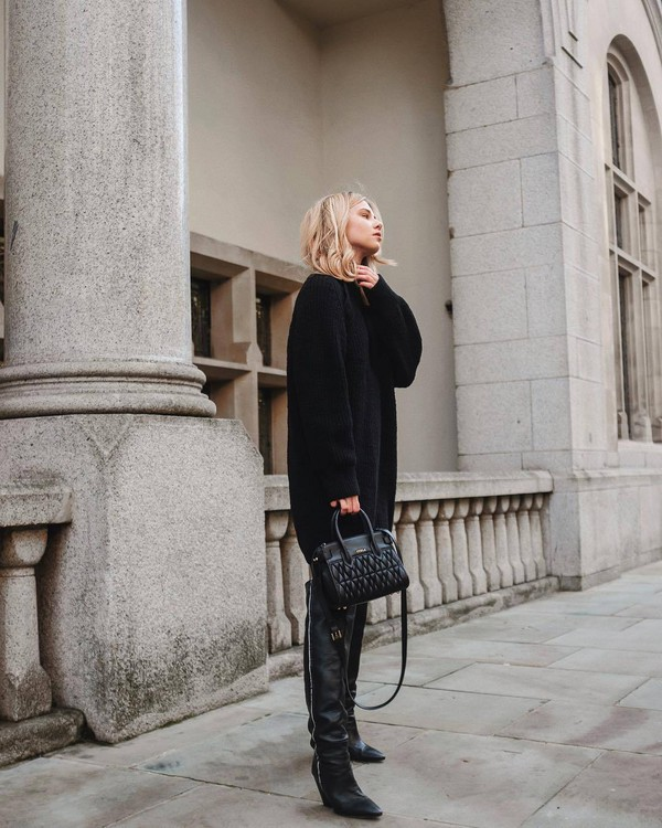 shoes over the knee boots black boots black sweater oversized sweater iro black bag