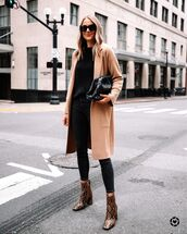 shoes,ankle boots,snake print,black skinny jeans,oversized,turtleneck sweater,black bag