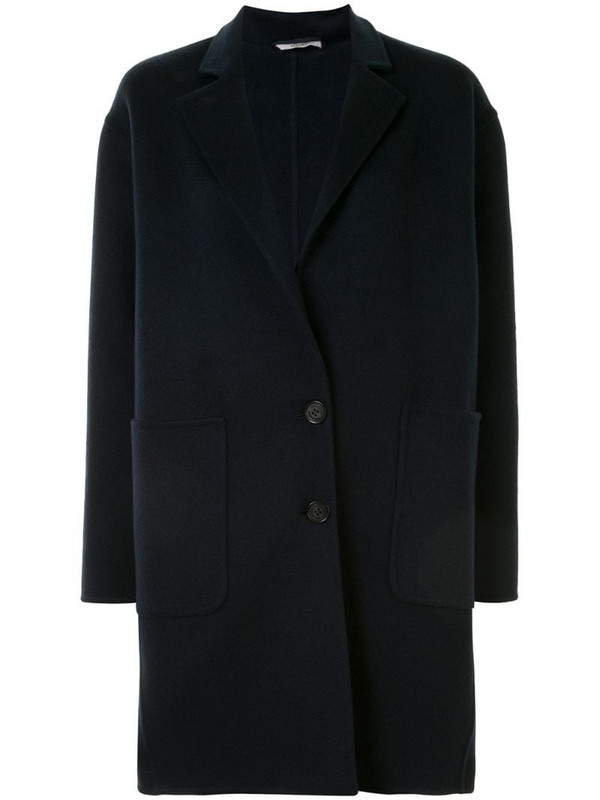 Colombo single-breasted cocoon coat in blue