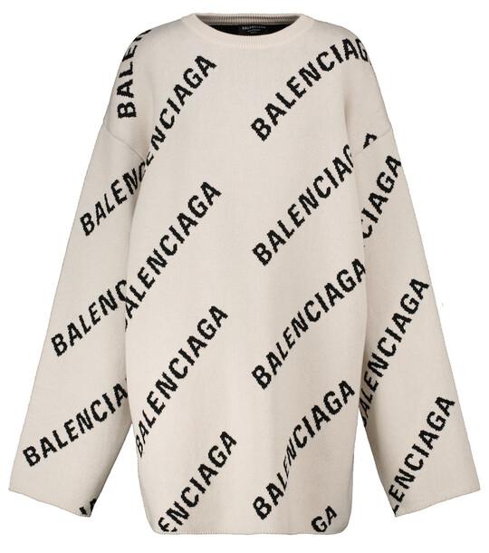 Balenciaga Logo jacquard cotton and wool-blend sweater in white