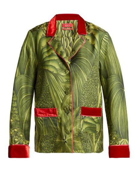 F.r.s - For Restless Sleepers - Ade Tahitian Jungle Print Silk Twill Shirt - Womens - Green Print