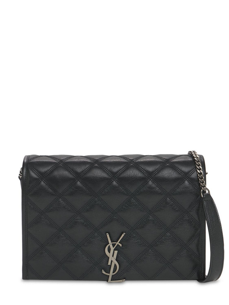 SAINT LAURENT Mini Carré Quilted Leather Shoulder Bag in black