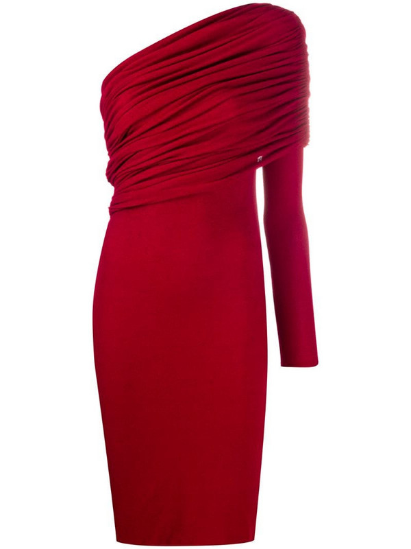 Alexandre Vauthier one shoulder ruched dress in red