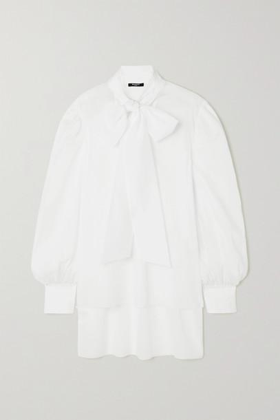 BALMAIN - Pussy-bow Cotton-voile Blouse - White