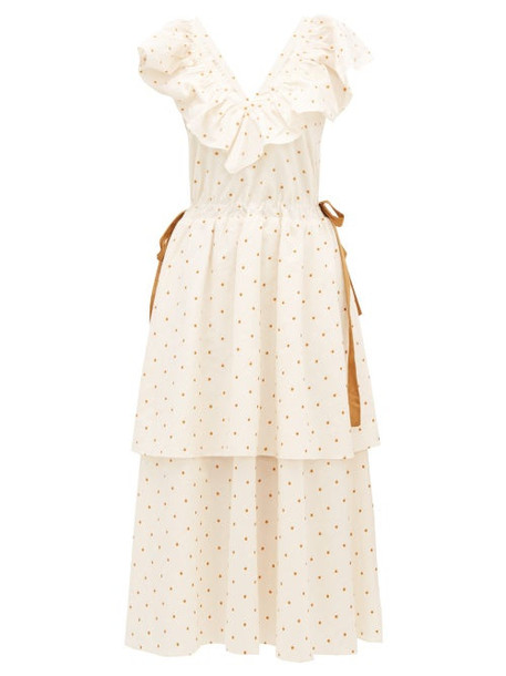 Loup Charmant - Kalame Ruffled Polka-dot Embroidered Cotton Dress - Womens - White Print