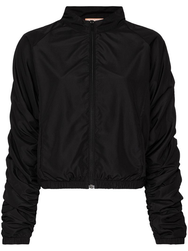 Fantabody ruched-sleeve zipped jacket in black