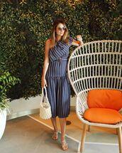 dress,midi dress,one shoulder,striped dress,topshop,belted dress,tote bag,white bag,flat sandals