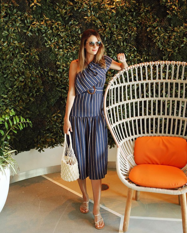 dress midi dress one shoulder striped dress topshop belted dress tote bag white bag flat sandals