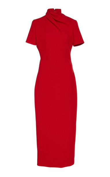 Brandon Maxwell Draped Wool-Crepe Midi Dress Size: 2 in red