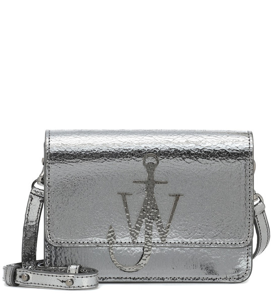 JW Anderson Logo leather shoulder bag in silver