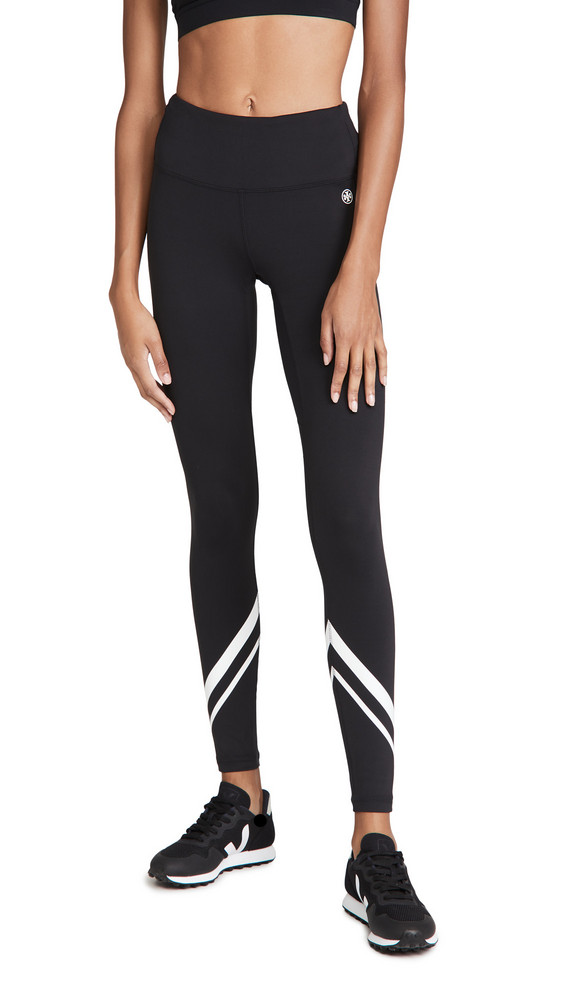 Tory Sport High-Rise Weightless Chevron Leggings in black / white