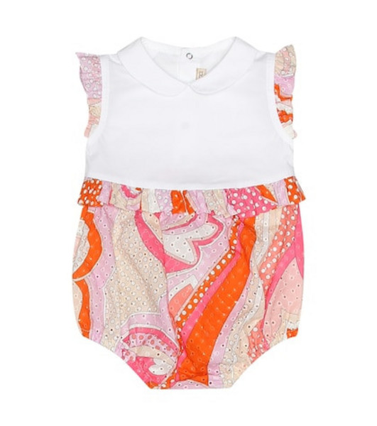 Emilio Pucci Kids Printed cotton bodysuit in pink