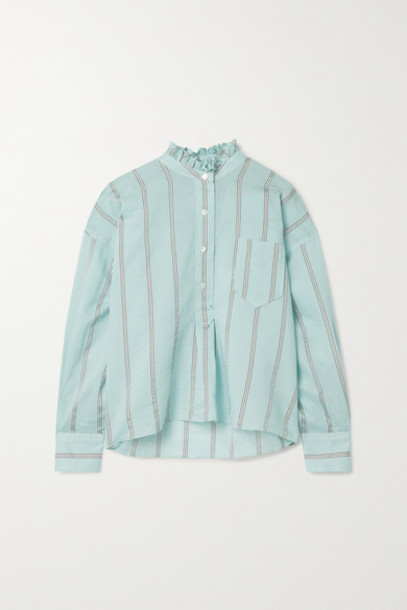 Isabel Marant Étoile - Olena Oversized Ruffled Striped Cotton-blend Voile Shirt - Sky blue