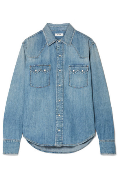 RE/DONE - Sawtooth Western Cotton-chambray Shirt - Light denim