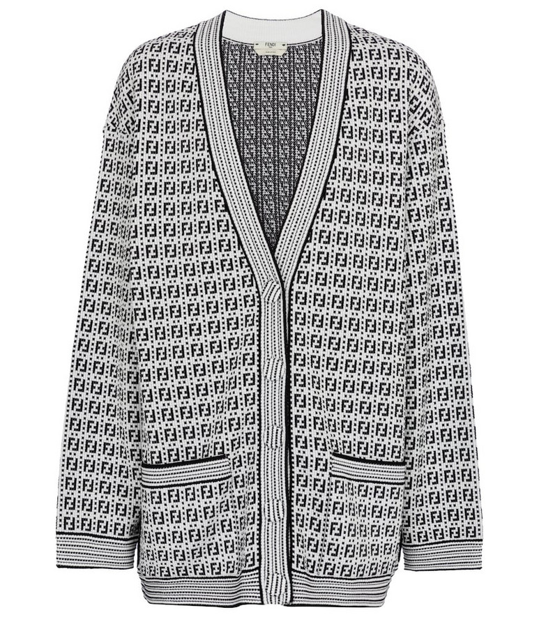 Fendi Logo jacquard cardigan in white