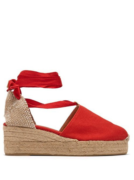 Castañer - Campesina 30 Canvas & Jute Espadrille Wedges - Womens - Red