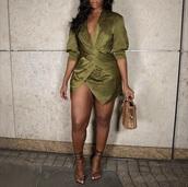 dress,wrap,olive green,silk