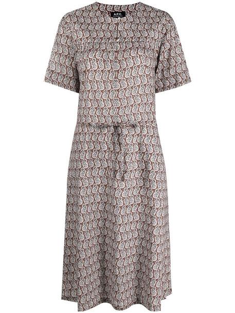 A.P.C. A.P.C. paisley-print tie-waist dress - Brown