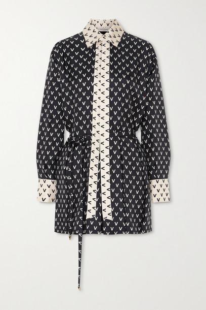 VALENTINO - Printed Silk-twill Playsuit - Black