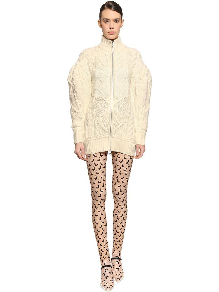 MARINE SERRE Zipped Wool Blend Knit Mini Dress in ivory