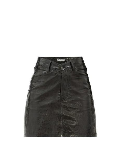 Balenciaga - V Waist Patent Leather Mini Skirt - Womens - Black