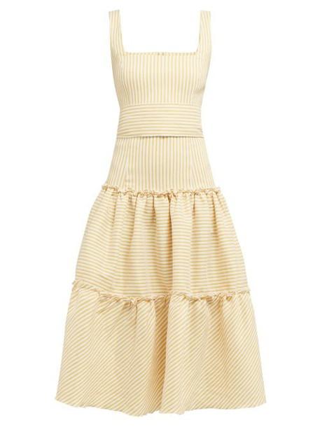 Luisa Beccaria - Tiered Striped Linen Blend Midi Dress - Womens - Yellow Print