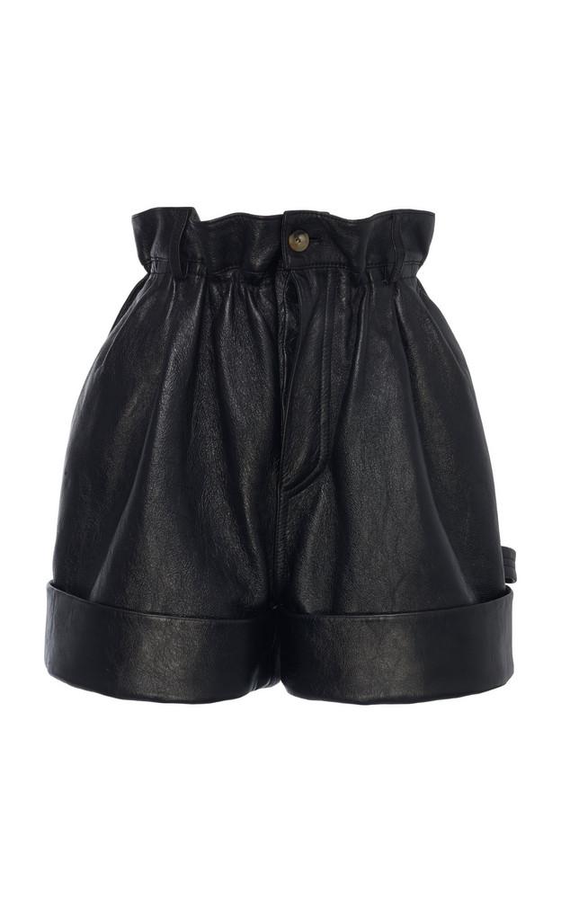 Miu Miu Pleated Leather Shorts Size: 36 in black