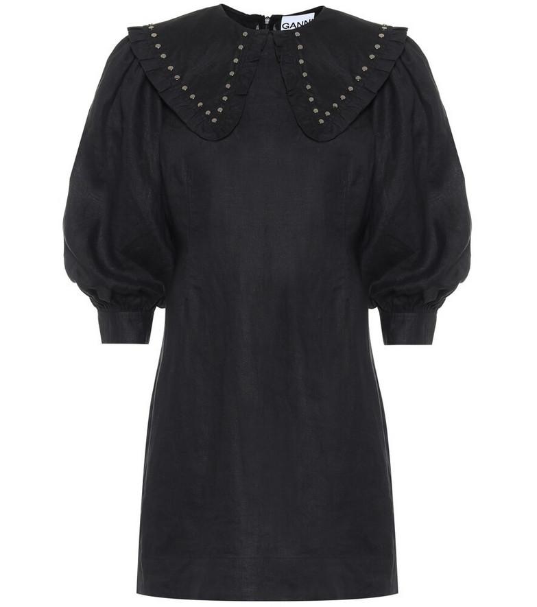 Ganni Studded linen minidress in black