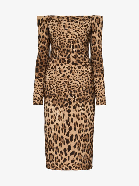 Dolce & Gabbana Off-the-shoulder leopard print midi dress