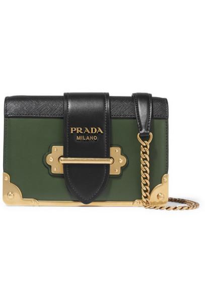Prada - Cahier Small Two-tone Leather Shoulder Bag - Dark green