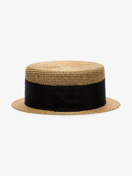 Saint Laurent metallic gold and black small straw boater hat