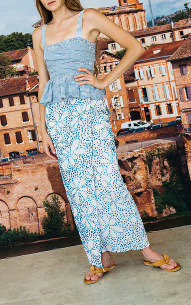 Ciao Lucia Rosetta Wrapped Maxi Skirt in blue
