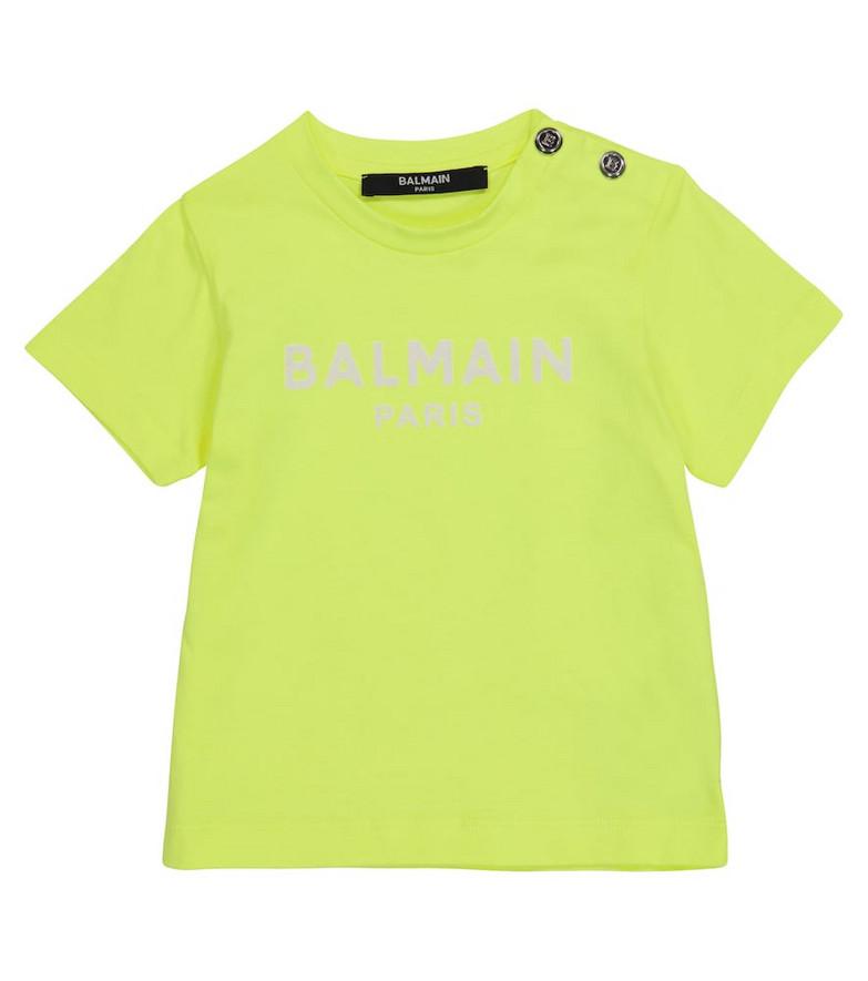 Balmain Kids Baby logo cotton T-shirt in yellow