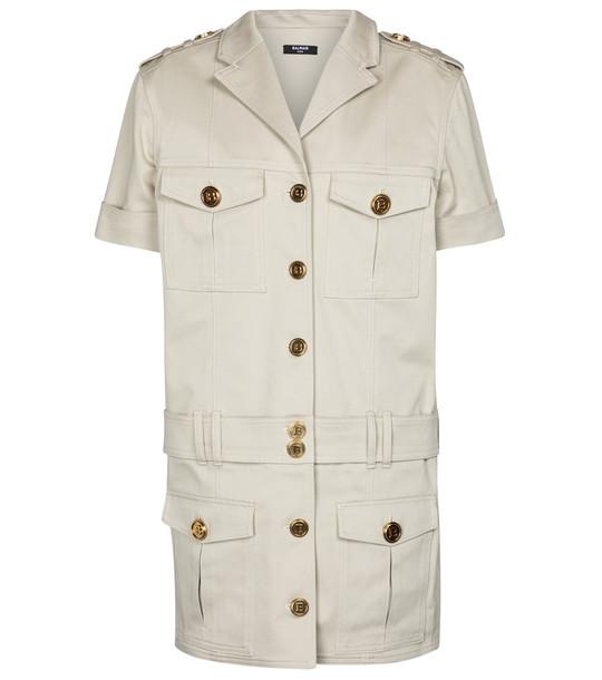 Balmain Stretch-cotton denim shirt dress in beige