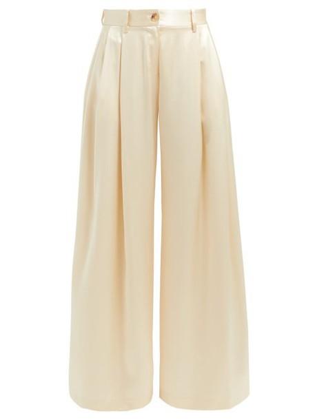 Nili Lotan - Brixton Silk Wide Leg Trousers - Womens - Ivory