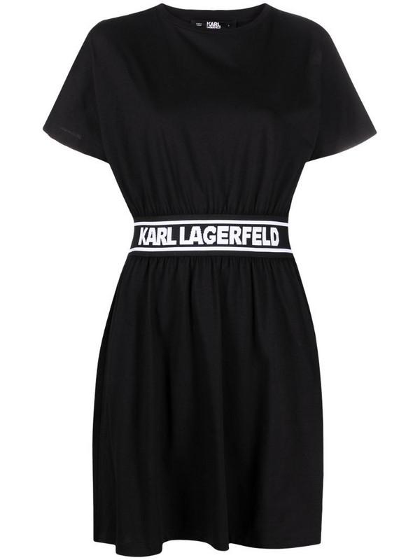Karl Lagerfeld logo tape shirt dress in black